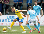 Forfar v St Johnstone….27.07.19      Station Park     Betfred Cup       <br />Callum Hendry fends off Ross Meechan and Ross Forbes<br />Picture by Graeme Hart. <br />Copyright Perthshire Picture Agency<br />Tel: 01738 623350  Mobile: 07990 594431