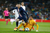 Real Madrid CF's Tibaut Courtois and Mauro Icardi of PSG competes for the ball during UEFA Champions League match, groups between Real Madrid and Paris Saint Germain at Santiago Bernabeu Stadium in Madrid, Spain. November, Tuesday 26, 2019.(ALTERPHOTOS/Manu R.B.)<br /> Champions League 2019/2020  <br /> Real Madrid - PSG Paris Saint Germain <br /> Foto Alterphotos / Insidefoto <br /> ITALY ONLY
