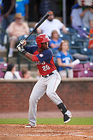 Hagerstown Suns outfielder Dale Carey (20) at bat during a game against the Lexington Legends on May 22, 2015 at Whitaker Bank Ballpark in Lexington, Kentucky.  Lexington defeated Hagerstown 5-1.  (Mike Janes/Four Seam Images)
