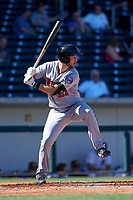 Surprise Saguaros first baseman Chris Paul (21), of the Minnesota Twins organization, at bat during a game against the Mesa Solar Sox on October 20, 2017 at Sloan Park in Mesa, Arizona. The Solar Sox walked-off the Saguaros 7-6.  (Zachary Lucy/Four Seam Images)