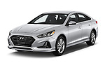 2018 Hyundai Sonata SEL 4 Door Sedan angular front stock photos of front three quarter view