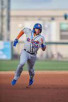 St. Lucie Mets Blake Tiberi (24) running the bases during a Florida State League game against the Lakeland Flying Tigers on April 24, 2019 at Publix Field at Joker Marchant Stadium in Lakeland, Florida.  Lakeland defeated St. Lucie 10-4.  (Mike Janes/Four Seam Images)
