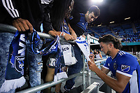 SAN JOSE, CA - JULY 24: Cade Cowell #44 of the San Jose Earthquakes signs autographs after a game between Houston Dynamo and San Jose Earthquakes at PayPal Park on July 24, 2021 in San Jose, California.