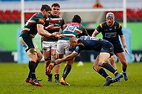 6th February 2021; Mattoli Woods Welford Road Stadium, Leicester, Midlands, England; Premiership Rugby, Leicester Tigers versus Worcester Warriors; Kobus van Wyk of Leicester Tigers is tackled by Chris Pennell of Worcester Warriors