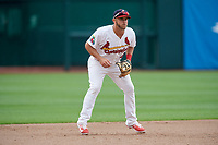 Springfield Cardinals third baseman Jacob Wilson (4) during a game against the San Antonio Missions on June 4, 2017 at Hammons Field in Springfield, Missouri.  San Antonio defeated Springfield 6-1.  (Mike Janes/Four Seam Images)