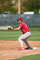 Philadelphia Phillies first baseman Micah Yonamine (18) during an Extended Spring Training game against the Toronto Blue Jays on June 12, 2021 at the Carpenter Complex in Clearwater, Florida. (Mike Janes/Four Seam Images)
