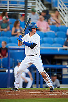 Dunedin Blue Jays catcher Riley Adams (23) at bat during a game against the Tampa Tarpons on June 2, 2018 at Dunedin Stadium in Dunedin, Florida.  Dunedin defeated Tampa 4-0.  (Mike Janes/Four Seam Images)