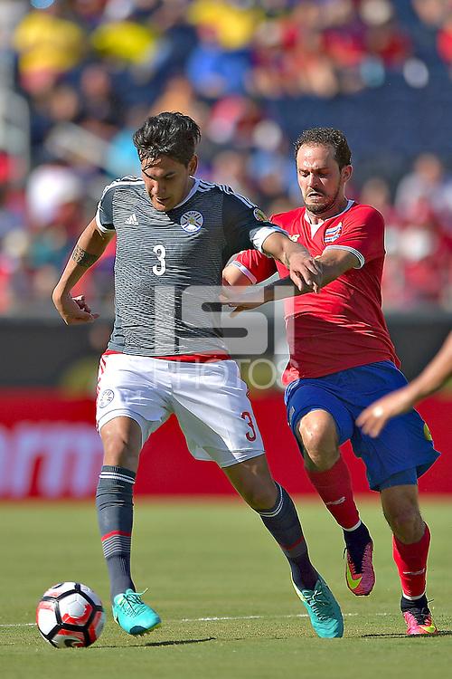 Action photo during the match Costa Rica vs Paraguay, Corresponding Group -A- America Cup Centenary 2016, at Citrus Bowl Stadium<br /> <br /> Foto de accion durante el partido Estados Unidos vs Colombia, Correspondiante al Grupo -A-  de la Copa America Centenario USA 2016 en el Estadio Citrus Bowl, en la foto: (i-d) Gustavo Gomez de Paraguay y Marcos Urena de Costa Rica<br /> <br /> <br /> <br /> 04/06/2016/MEXSPORT/Isaac Ortiz.