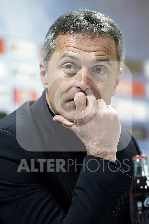 Getafe's coach Fran Escriba in press conference after La Liga match. February 14,2016. (ALTERPHOTOS/Acero)