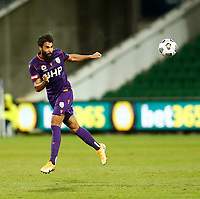 23rd May 2021; HBF Park, Perth, Western Australia, Australia; A League Football, Perth Glory versus Macarthur; Osama Malik of Perth Glory heads the ball clear out of defence