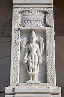 Jaipur, Rajasthan, India.  Lord Vishnu on Stone Column, Birla Mande Temple, also known as the Laxmi Narayan Temple, a Hindu Temple dedicated to Lord Vishnu (Narayan) and his consort Lakshmi.