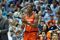 CHAPEL HILL, NC - JANUARY 11: Trey Jemison #55 of Clemson University cheers on his teammates during a game between Clemson and North Carolina at Dean E. Smith Center on January 11, 2020 in Chapel Hill, North Carolina.