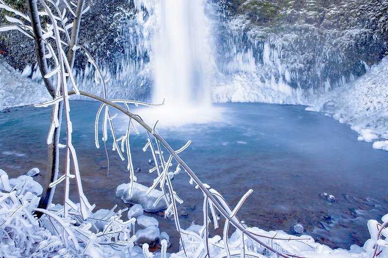 Lower Horse Tail Falls with ice. Columbia River Gorge National Scenic Area. Oregon