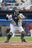 Staten Island Yankees catcher Luis Torrens (57) throws down to second in between innings during a game against the Batavia Muckdogs on August 7, 2014 at Dwyer Stadium in Batavia, New York.  Staten Island defeated Batavia 2-1.  (Mike Janes/Four Seam Images)