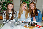 Enjoying the evening in the Ashe Hotel on Saturday, l to r: Chloe O'Keefe (Tralee) and Katie McGovern and Mia Keane from Castlegregory.