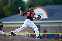 Batavia Muckdogs starting pitcher Gabriel Castellanos (37) delivers a pitch during a game against the Mahoning Valley Scrappers on June 24, 2015 at Dwyer Stadium in Batavia, New York. Batavia defeated Mahoning Valley 1-0 as Castellanos went seven innings allowing no hits with twelve strikeouts combining with relief pitchers Brett Lilek and Steven Farnworth on the organizations first perfect game in team history. (Mike Janes/Four Seam Images)
