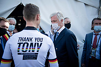 His Royal Highness King Philip of Belgium meeting 'King Tony' when visiting today's events and meeting with riders and officials backstage<br /> <br /> Mixed Relay TTT <br /> Team Time Trial from Knokke-Heist to Bruges (44.5km)<br /> <br /> UCI Road World Championships - Flanders Belgium 2021<br /> <br /> ©kramon