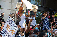 Protesters stand outside of D.C. mayor Muriel Bowserís office during a march against police brutality and racism in Washington, D.C. on Saturday, June 6, 2020.<br /> Credit: Amanda Andrade-Rhoades / CNP/AdMedia