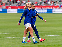 CARSON, CA - FEBRUARY 9: Lindsey Horan #9 and Christen Press #20 of the United States walk off the field during a game between Canada and USWNT at Dignity Health Sports Park on February 9, 2020 in Carson, California.
