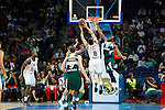 Basketball Real Madrid´s Maciulis and Zalgiris Kaunas´s Jankunas during Euroleague basketball match in Madrid, Spain. October 17, 2014. (ALTERPHOTOS/Victor Blanco)