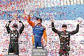 Scott Dixon, Chip Ganassi Racing Honda, Simon Pagenaud, Team Penske Chevrolet, Robert Wickens, Schmidt Peterson Motorsports Honda celebrate on the podium