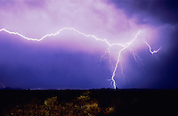 Lightning strike over desert, Big Bend National Park,Texas, USA