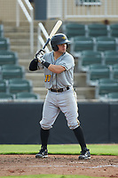 Jesse Medrano (10) of the West Virginia Power at bat against the Kannapolis Intimidators at Kannapolis Intimidators Stadium on July 25, 2018 in Kannapolis, North Carolina. The Intimidators defeated the Power 6-2 in 8 innings in game one of a double-header. (Brian Westerholt/Four Seam Images)