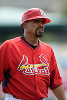 St. Louis Cardinals third base coach Jose Oquendo (11) during a Spring Training game against the New York Mets on April 2, 2015 at Roger Dean Stadium in Jupiter, Florida.  The game ended in a 0-0 tie.  (Mike Janes/Four Seam Images)