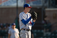 Stockton Ports starting pitcher Brian Howard (44) looks to his catcher for the sign during a California League game against the Visalia Rawhide at Visalia Recreation Ballpark on May 8, 2018 in Visalia, California. Stockton defeated Visalia 6-2. (Zachary Lucy/Four Seam Images)