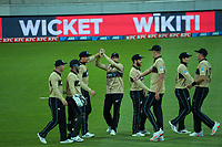 NZ players celebrate Martin Guptill's catch of Joshua Philippe during the third international men's T20 cricket match between the New Zealand Black Caps and Australia at Sky Stadium in Wellington, New Zealand on Wednesday, 3 March 2021. Photo: Dave Lintott / lintottphoto.co.nz