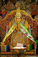 Statue of Ngawang Puntsok in the Main Assembly Hall, Drepung Monastery, Lhasa, Tibet, China..