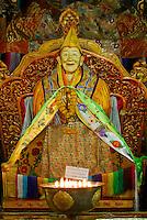 Statue of Ngawang Puntsok in the Main Assembly Hall, Drepung Monastery, Lhasa, Tibet, China..