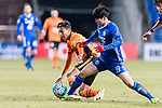 Ulsan Hyundai Forward Kim Seungjun (R) fights for the ball with Brisbane Roar Forward Dane Ingham (L) during the AFC Champions League 2017 Group E match between Ulsan Hyundai FC (KOR) vs Brisbane Roar (AUS) at the Ulsan Munsu Football Stadium on 28 February 2017 in Ulsan, South Korea. Photo by Victor Fraile / Power Sport Images