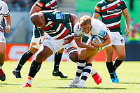 5th June 2021; Mattioli Woods Welford Road Stadium, Leicester, Midlands, England; Gallagher Premiership Rugby, Leicester Tigers versus Bristol Bears; Nemani Nadolo of Leicester Tigers shoulder charges Max Malins of Bristol Bears for a dangerous play penalty