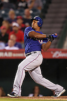 Texas Rangers third baseman Adrian Beltre #29 bats against the Los Angeles Angels at Angel Stadium on September 27, 2011 in Anaheim,California. Texas defeated Los Angeles 10-3.(Larry Goren/Four Seam Images)