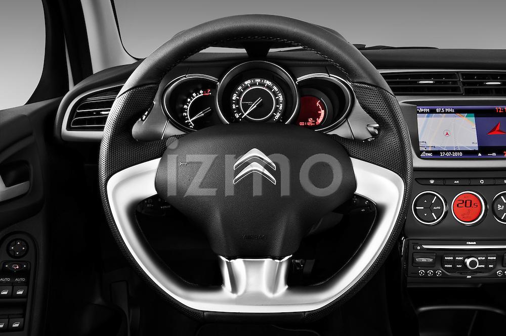 Steering wheel view of a 2010 Citroen C3 Exclusive 5 Door Hatchback