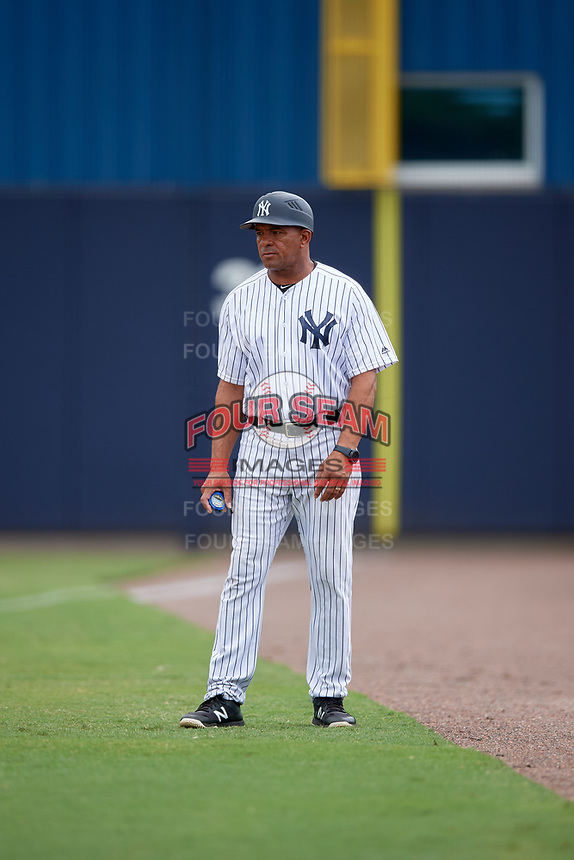 GCL Yankees West defensive coach Antonio Pacheco during a game against the GCL Tigers West on August 10, 2018 at Yankee Complex in Tampa, Florida.  GCL Yankees West defeated GCL Tigers West 6-5.  (Mike Janes/Four Seam Images)