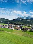 Austria, Vorarlberg, Bezau: resort at Bregenzerwald with parish church St. Jodok | Oesterreich, Vorarlberg, Bezau: Hauptort des Bregenzerwaldes mit Pfarrkirche St. Jodok