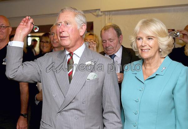 07 July 2015 - Llanarmon yn Lal, Wales - Camilla, Duchess of Cornwall and Prince Charles, Prince of Wales visit the Community-run Raven Inn Pub in Llanarmon yn Lal, Wales. Photo Credit: Alpha Press/AdMedia