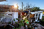 MARIANNA, FL - OCTOBER 13: Hurricane Michael blew a tree through a hours on highway 71 south of Marianna on October 13, 2018 in Marianna, Florida. (Photo by Mark Wallheiser/Getty Images)