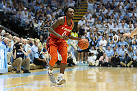 CHAPEL HILL, NC - JANUARY 11: Tevin Mack #13 of Clemson University brings the ball into the attack during a game between Clemson and North Carolina at Dean E. Smith Center on January 11, 2020 in Chapel Hill, North Carolina.