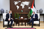 Palestinian Prime Minister Mohammed Ishtayeh meets with European Envoy for the Middle East Peace Process Sven Koopmans, in the West Bank city of Ramallah, on October 10, 2021. Photo by Prime Minister Office