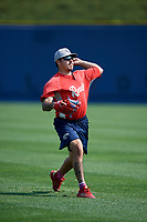 Reading Fightin Phils pitcher JoJo Romero (10) warms up before the first game of a doubleheader against the Portland Sea Dogs on May 15, 2018 at FirstEnergy Stadium in Reading, Pennsylvania.  Portland defeated Reading 8-4.  (Mike Janes/Four Seam Images)