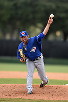 GCL Blue Jays pitcher Brandon Hinkle (47) delivers a pitch during a game against the GCL Braves on June 27, 2014 at the ESPN Wide World of Sports in Orlando, Florida.  GCL Braves defeated GCL Blue Jays 10-9.  (Mike Janes/Four Seam Images)
