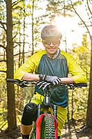 Portrait of Jon Lindgren, mountain biker in Änggårdsbergen Nature Reserve, Gothenburg, Sweden