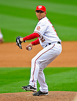 13 April 2009: Washington Nationals' pitcher Saul Rivera on the mound in relief against the Philadelphia Phillies during the Nats' Home Opener at Nationals Park in Washington, DC. The Nats fell short in their 9th inning rally, losing 9-8, and marking their 7th consecutive loss of the 2009 season. Mandatory Credit: Ed Wolfstein Photo