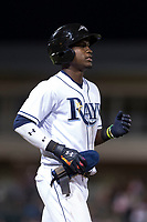 AFL West shortstop Lucius Fox (5), of the Peoria Javelinas and Tampa Bay Rays organization, jogs to first base after being walked during the Arizona Fall League Fall Stars game at Surprise Stadium on November 3, 2018 in Surprise, Arizona. The AFL West defeated the AFL East 7-6 . (Zachary Lucy/Four Seam Images)