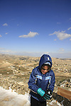 Judea, Noam Isachar at the Herodion, built by Herod in the Judean desert