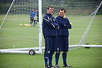 Stockport Pre-Season Training, 09/07/2008. Manor Farm, Timperley, League One. Stockport County manager Jim Gannon and his assistant Peter Ward talking during a pre-season training session at the club's training ground at Manor Farm, Timperley, Cheshire. Stockport County were promoted up to league One following a play-off final victory over Rochdale at Wembley in May, 2008. Jim Gannon took over as manager of the club in 2006 and lead them to promotion after three seasons in League Two. Photo by Colin McPherson.