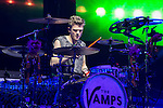 © Joel Goodman - 07973 332324 . 25/04/2015 . Manchester , UK . Drummer , Tristan Evans . The Vamps play live at the Manchester Arena . Photo credit : Joel Goodman